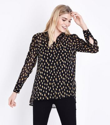 Black Diamond Print Step Hem Shirt