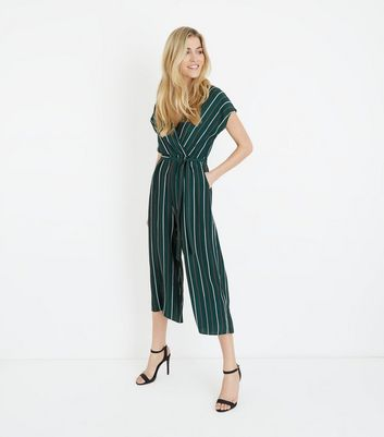 Tall Green Stripe Wrap Front Culotte Jumpsuit
