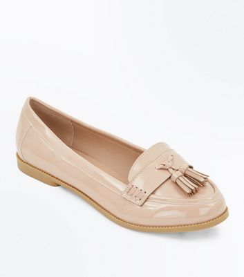 Wide Fit Nude Patent Tassel Loafers