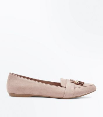 Wide Fit Nude Suedette Tassel Pointed Loafers