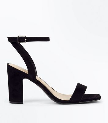 Wide Fit Black Suedette Block Heel Sandals