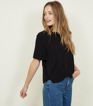 Black Ladder Trim Tie Back Top by New Look