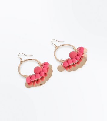Gold Pom Pom Disc Hoop Earrings