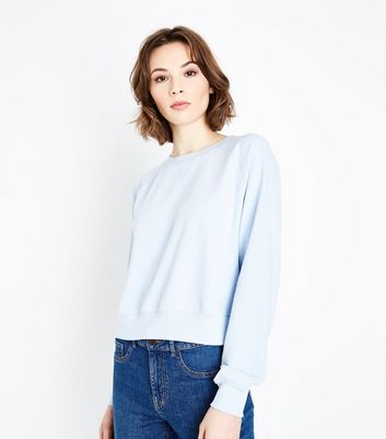 Bright Blue Raglan Sleeve Cropped Sweatshirt