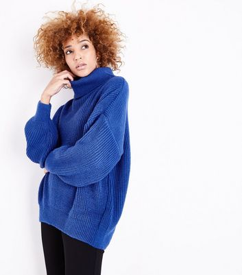 Blue Funnel Neck Longline Jumper