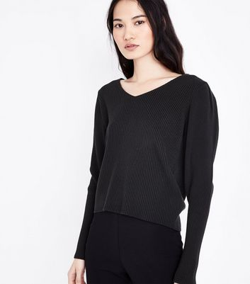 Black Ribbed Balloon Sleeve Jumper