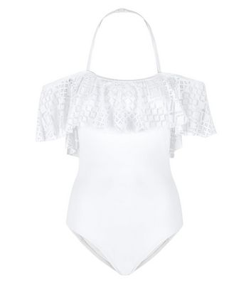 Teens White Crochet Trim Bardot Neck Swimsuit