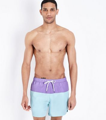 Short de bain lilas color block