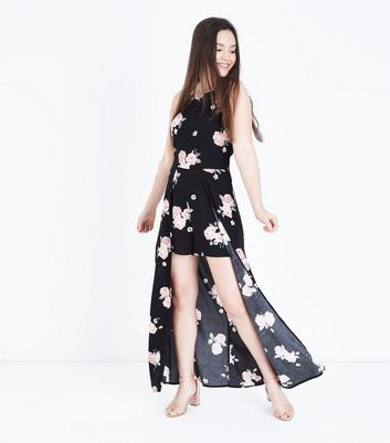 Teens Black Floral Print Layered Playsuit