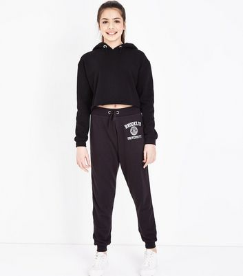 Teens Black Brooklyn Side Stripe Joggers