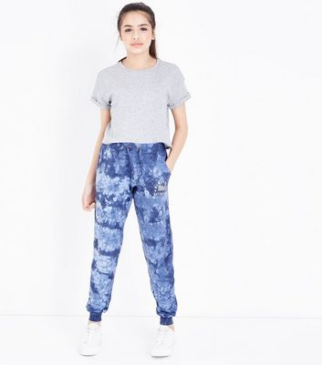 Teens Blue Tie Dye New York Print Joggers