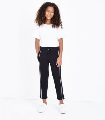 Teens Black 1998 Slogan Stripe Side Joggers