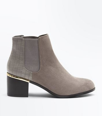 Wide Fit Grey Comfort Flex Suedette Heeled Chelsea Boots