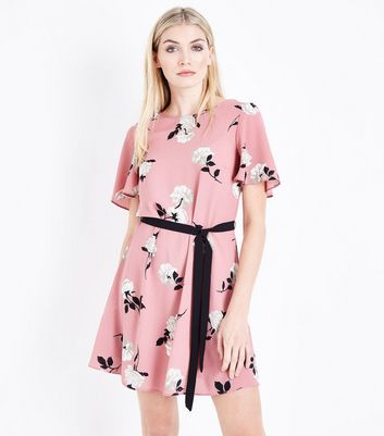Pink Floral Belted Tunic Dress