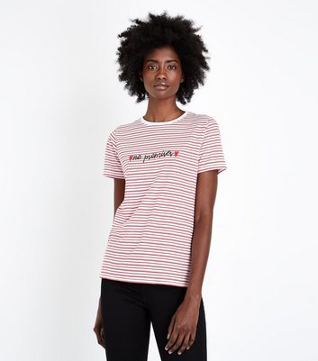 Red Stripe No Promises Embroidered T-Shirt
