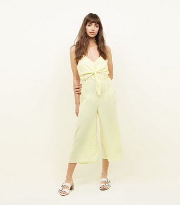 Yellow Tie Front Linen-Look Jumpsuit