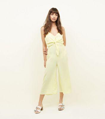 Yellow Tie Front Linen Look Jumpsuit by New Look