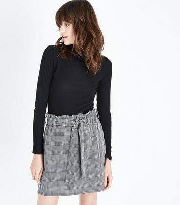 Black Houndstooth Paperbag Mini Skirt