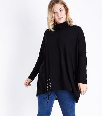 Blue Vanilla Curves Black Cowl Neck Top