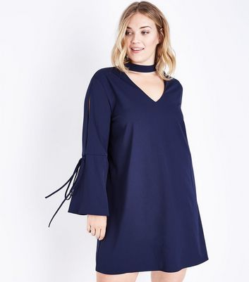 Blue Vanilla Curves Navy Choker Bell Sleeve Dress