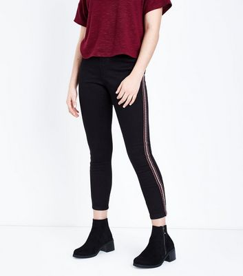 Teens Black Aztec Tape Side Skinny Jeans