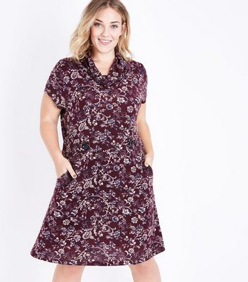 Blue Vanilla Curves Red Floral Print Tunic Dress