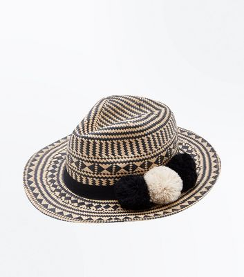 Brown Straw Pom Pom Handcrafted Fedora Hat