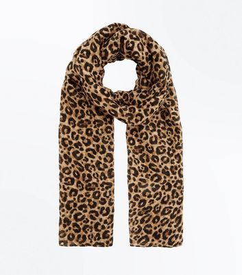 Light Brown Animal Print Longline Scarf