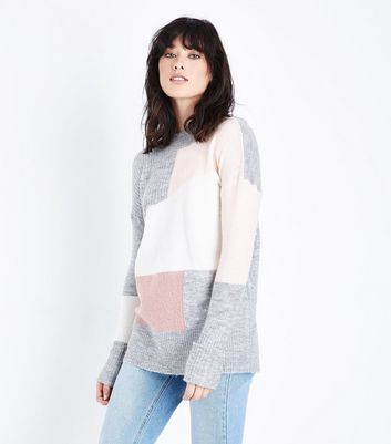 Grey and Pink Colour Block Jumper