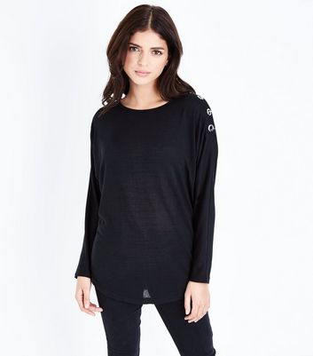 Black Metal Trim Batwing Sleeve Top
