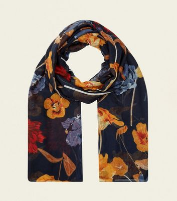 Navy Floral Longline Scarf