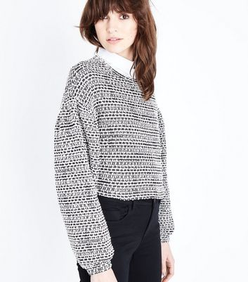 Black Boucle Stripe Batwing Sleeve Crop Top
