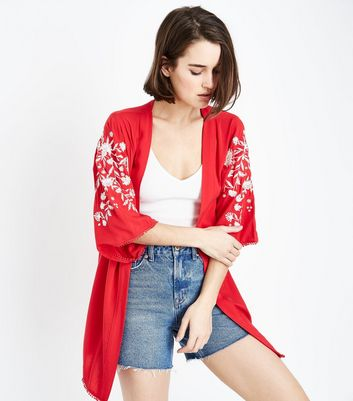 Red Floral Embroidered Kimono