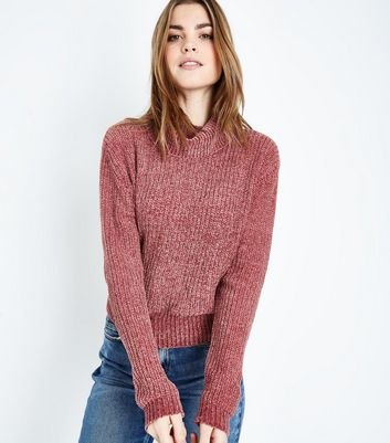 Mid Pink Chenille Roll Neck Jumper