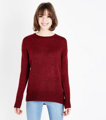 Dark Red Curved Hem Jumper