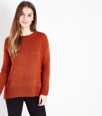 Orange Curved Hem Jumper