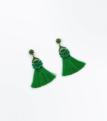 Green Gem Embellished Tassel Earrings