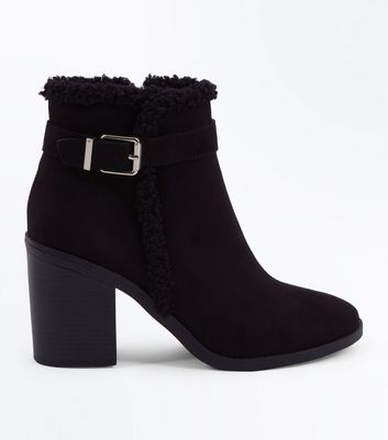 Black Suedette Faux Shearling Lined Heeled Boots