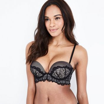 Black Lace Longline Push Up Bra