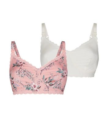 Maternity Pink Floral and White Bra