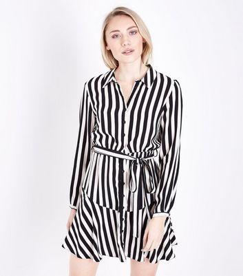 Petite Black Stripe Belted Shirt Dress