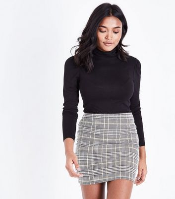 Petite Black Check Jacquard Tube Skirt