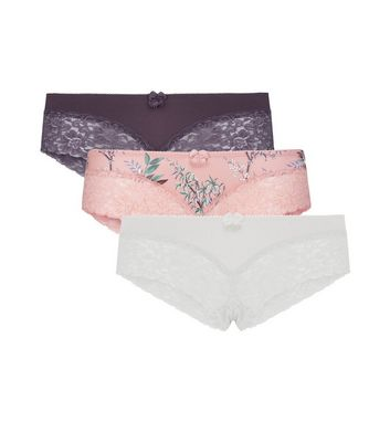 Maternity 3 Pack Pink Floral Purple and White Lace Brazilian Briefs