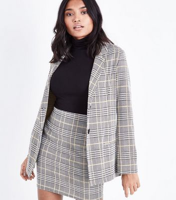 Petite Black Check Button Front Blazer