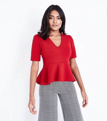 Petite Red V Neck Peplum Hem Top
