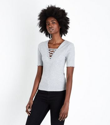 Tall Grey Lace Up Neck T-Shirt