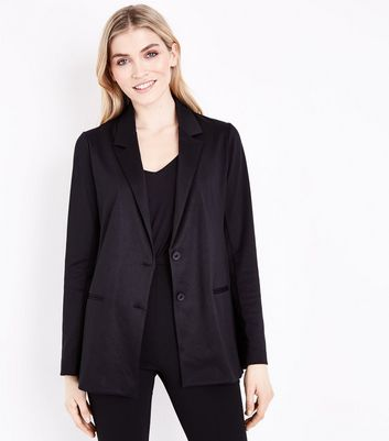 Tall Black Button Front Blazer