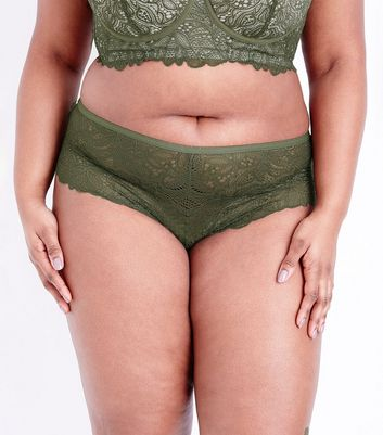 Curves Khaki Lace Brazilian Briefs