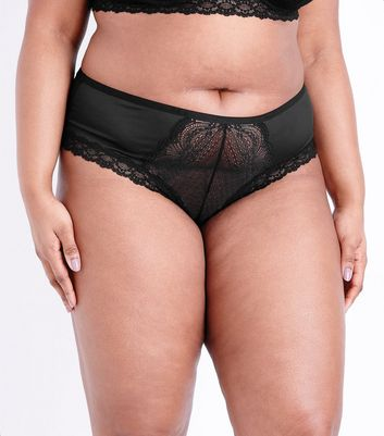 Curves Black Lace Front Brazilian Briefs