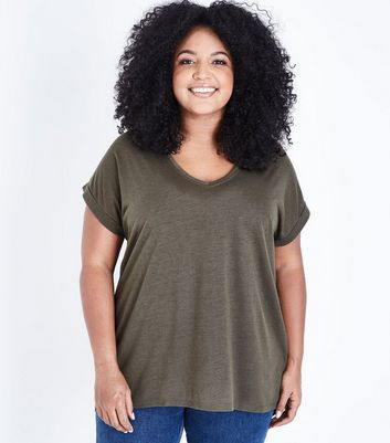 Curves Olive Green Split Back Oversized T-Shirt